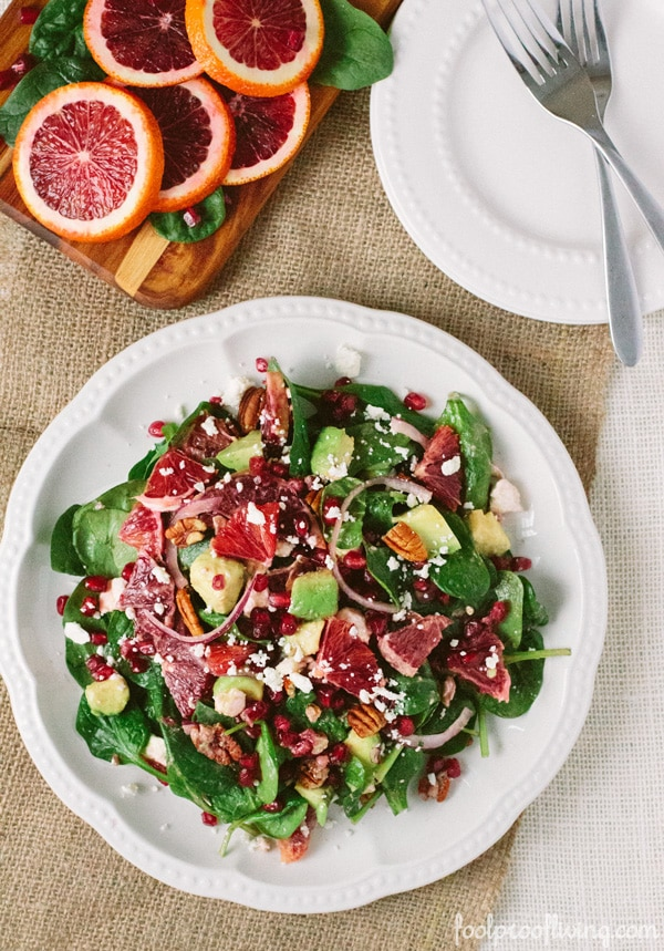 Healthy Vegetarian Weekly Menu from Foolproof Living baby spinach salad with blood orange