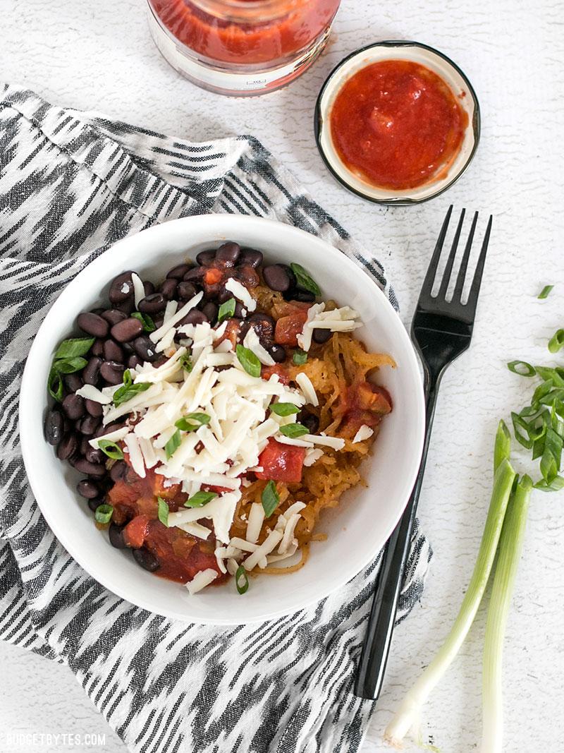 Simple Vegetarian Recipes with Budget Bytes | southwest spaghetti squash bowls