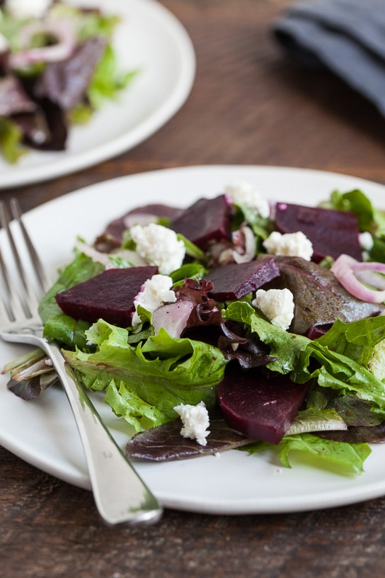 Winter Dinner Recipes Meal Plan with Gather and Dine beets shallots feta mixed green salad