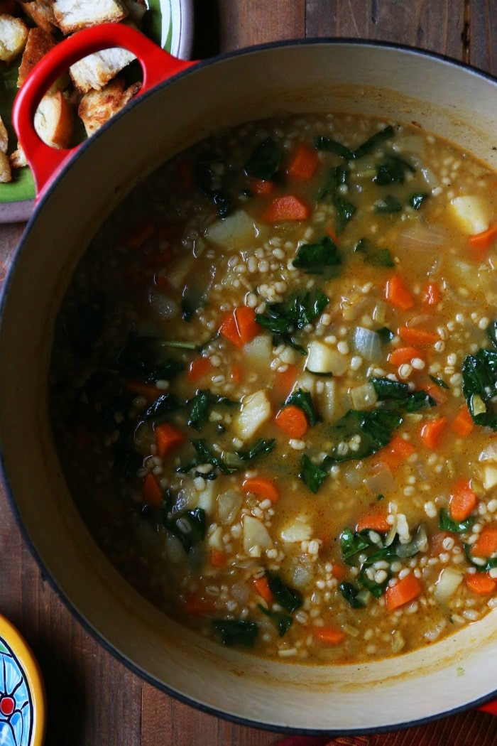 Five Vegetarian Dinner Ideas from Supper with Michelle- Vegetable Barley Soup