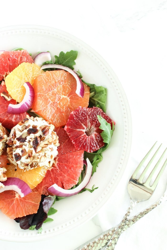 Healthy Dinner Recipes from Lively Table- Pecan crusted goat cheese citrus salad