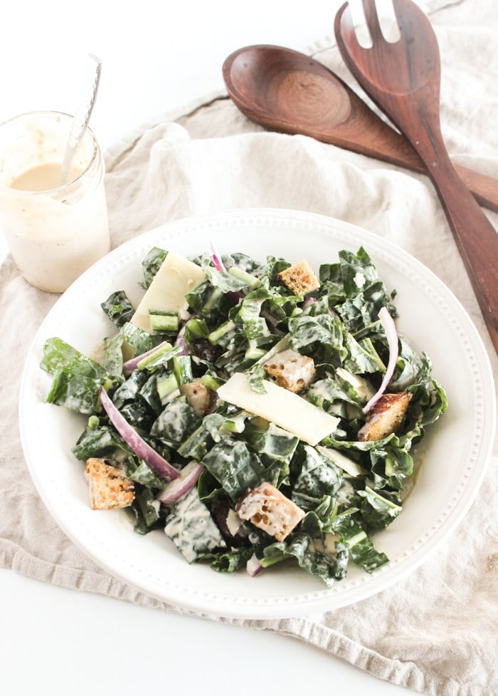Healthy Dinner Recipes from Lively Table- healthy kale caesar salad