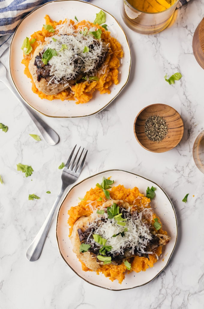 Meal Ideas and Grocery List with Cookie Named Desire- seared chicken sweet potato mash