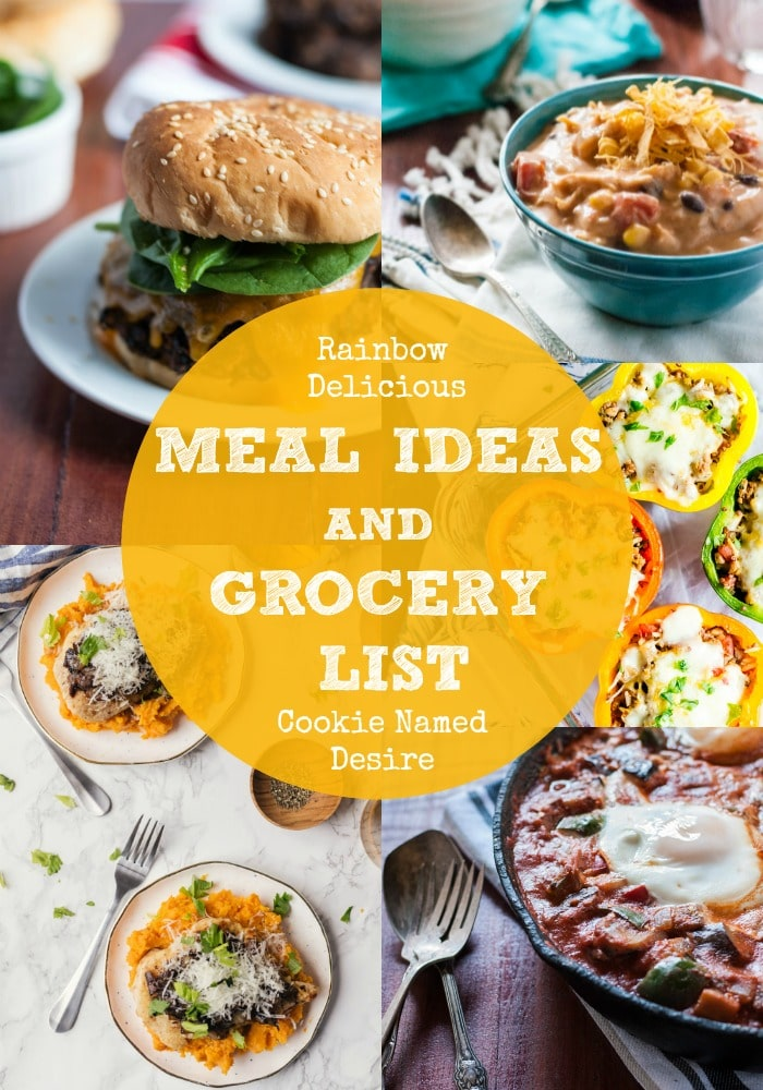 Meal Ideas and Grocery list with Cookie Named Desire on Rainbow Delicious
