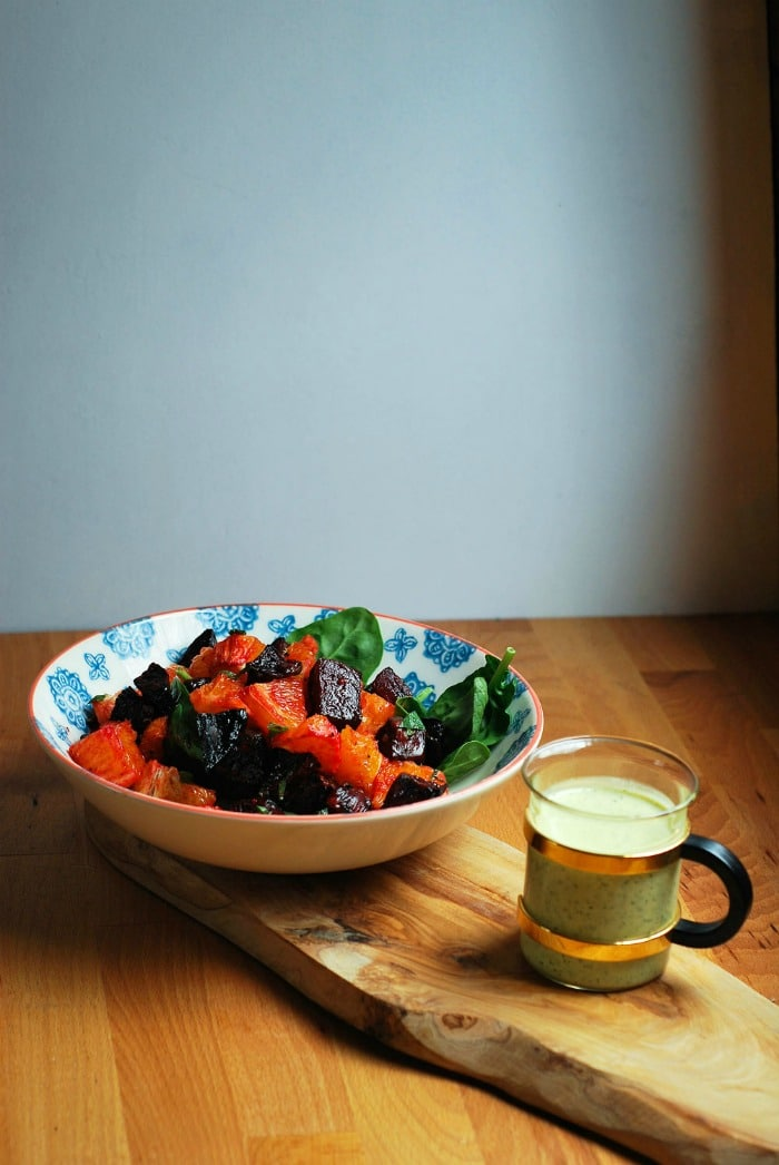 Easy Vegan Recipes Meal Plan- Rough Measure Beetroot and Orange WSalad with Creamy Mint Dressing