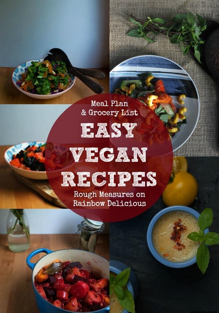 Easy Vegan Recipes- rough Measures on Rainbow Delicious