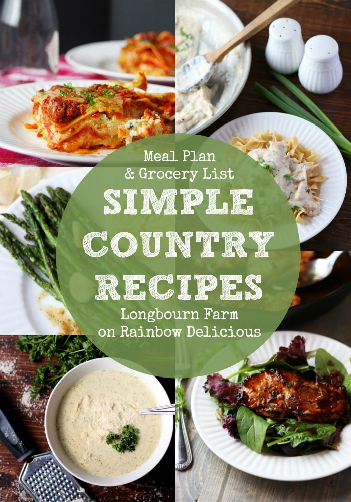 Simple Country Recipes from Longbourn Farm Meal Plan