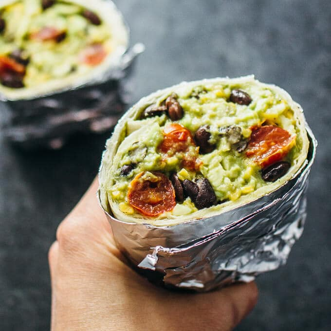 Simple Vegetarian Meals by Savory Tooth guacamole burrito balsamic roasted tomatoes black beans