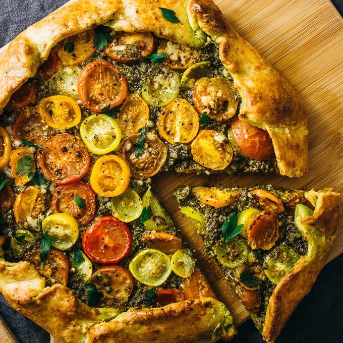 Simple Vegetarian Meals by Savory Tooth savory heirloom galette pesto