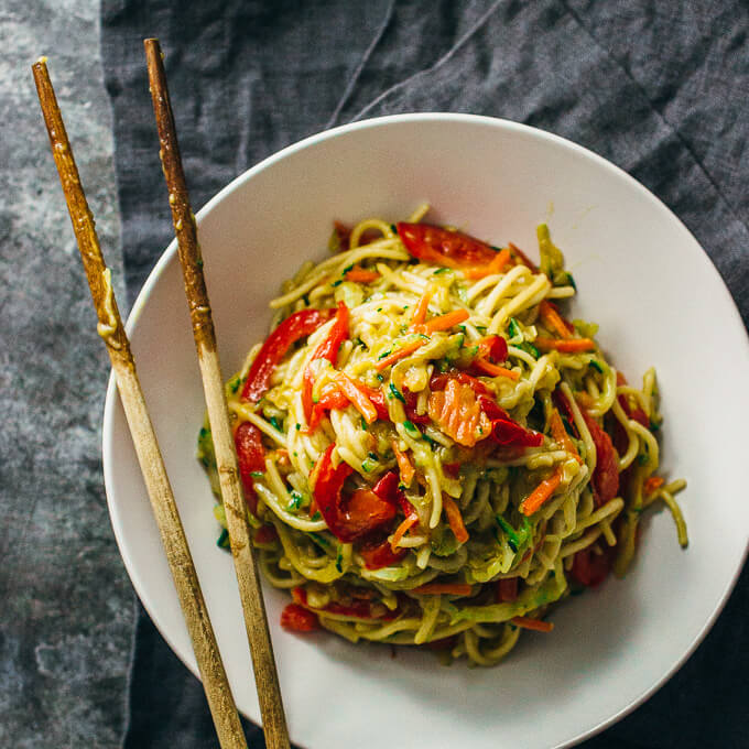 Simple Vegetarian Meals by Savory Tooth- vegetable chow mein noodles