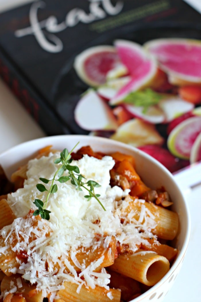 Vegetarian Ragu Pasta Recipe from Feast Cookbook with lots of vegetables