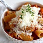 Vegetarian Ragu Pasta Recipe from Feast Cookbook with thyme garnish