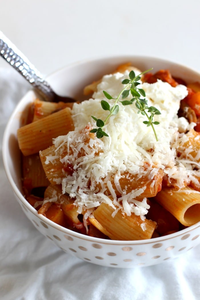 Vegetarian Ragu Pasta Recipe from Feast Cookbook with thyme garnish
