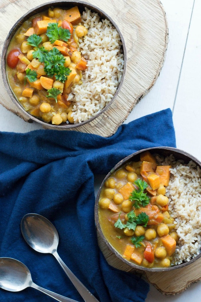 Wholesome Dinner Recipes from The Happiness Kitchen- chickpea sweet potato curry