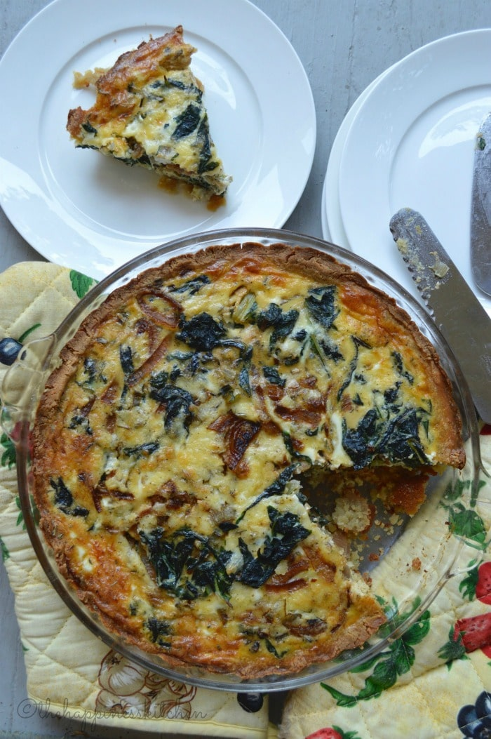 Wholesome Dinner Recipes from The Happiness Kitchen- swiss chard and caramelized onion quiche