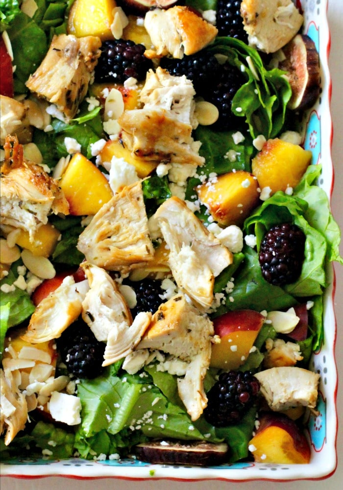 Almond, Feta, Peach, Blackberry and Fresh Fig Salad with Grilled Chicken