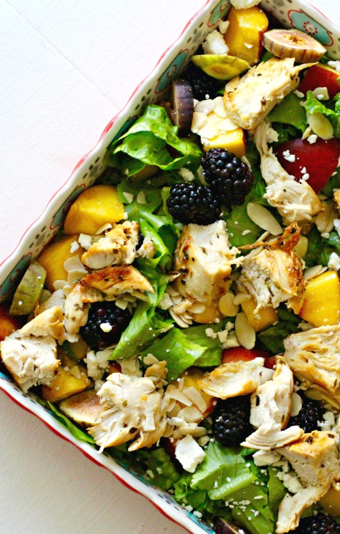 Feta, Almond, Peach, Blackberry and Fresh Fig Salad with Grilled Chicken