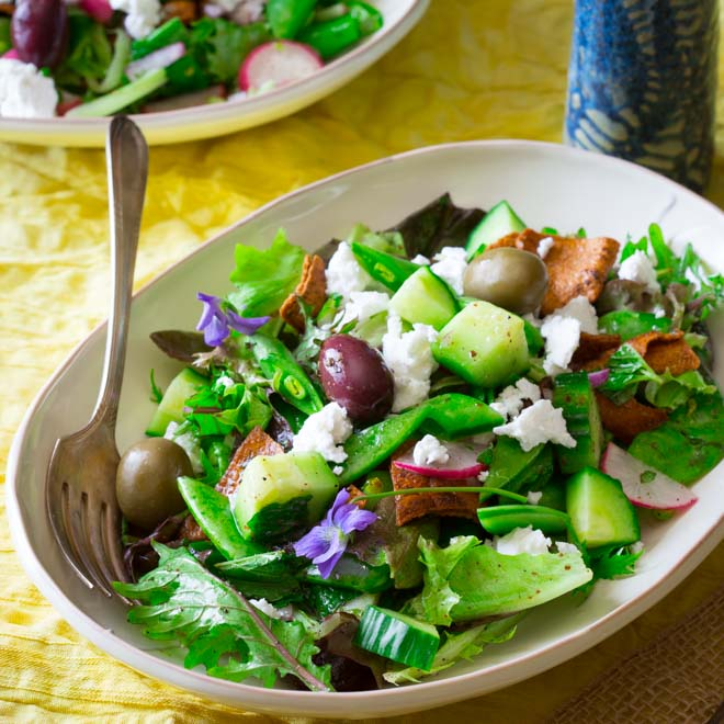 Healthy Spring Recipes Meal Plan from Healthy Seasonal Recipes- snap pea mint and feta fattoush salad