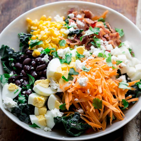 Healthy Spring Recipes Meal Plan from Healthy Seasonal Recipes- southwest cobb kale salad
