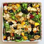 Peach Blackberry and Fresh Fig Salad with Grilled Chicken Feta Almonds