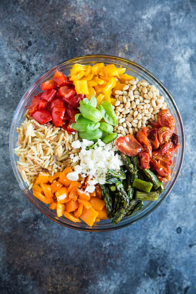 weeknight recipe meal ideas- orzo pasa salad with roasted vegetables from Culinary Hill