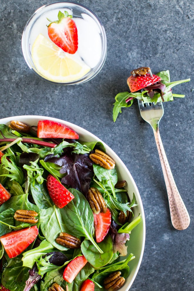 weeknight recipe meal ideas- strawberry spinach salad from Culinary Hill