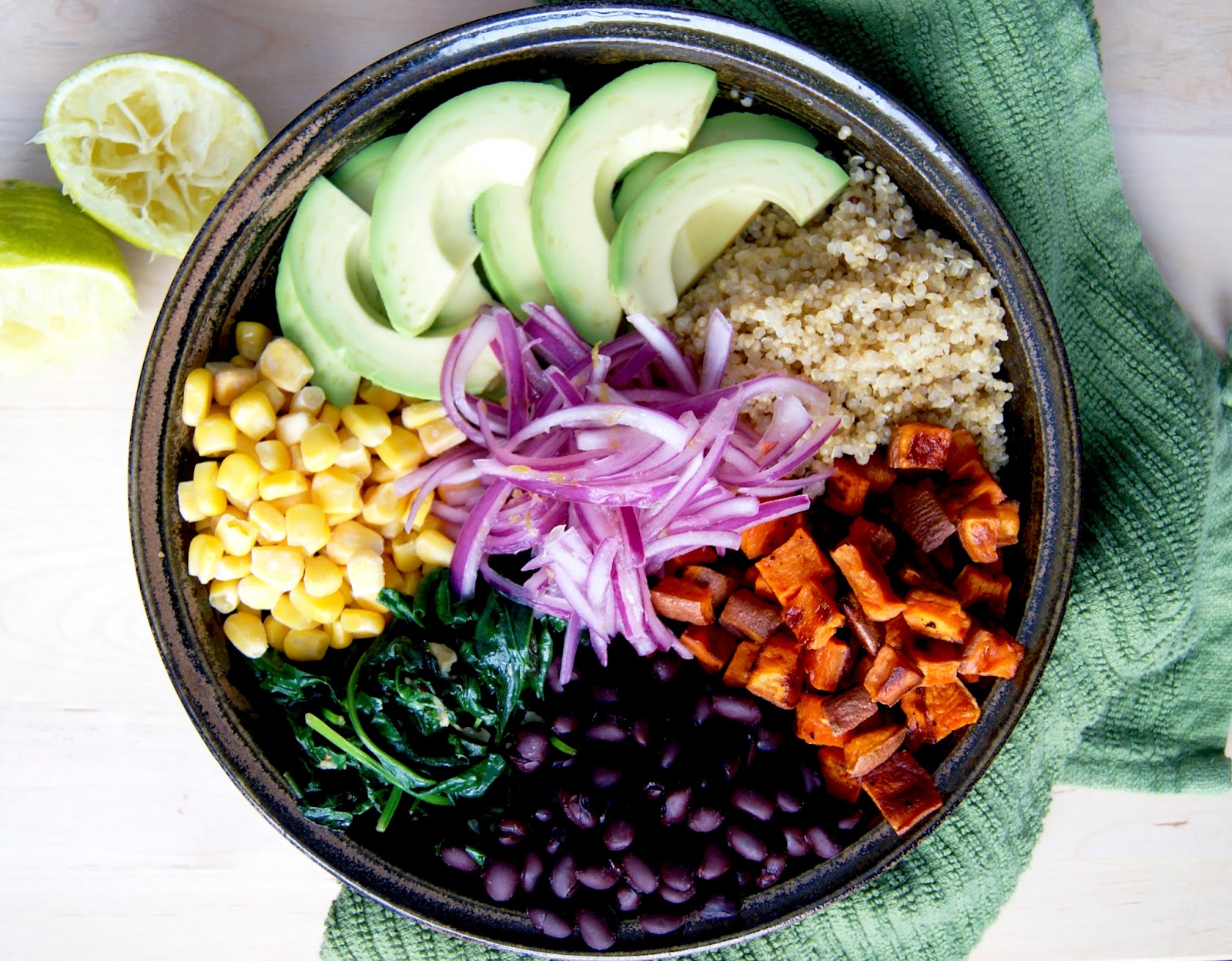 Dairy free vegetarian recipes from Occassionally Eggs Mexican quinoa bowl with quick pickled onions