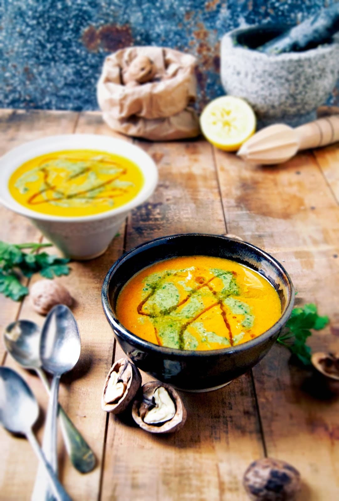 Dairy free vegetarian recipes from Occassionally Eggs- roasted carrot soup with parsley walnut pesto