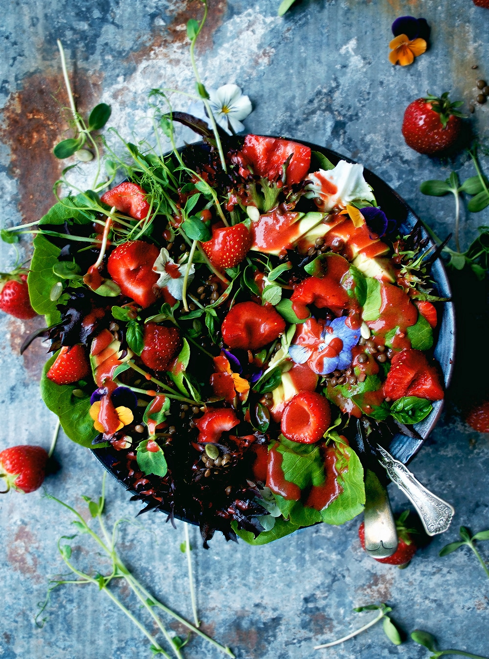 dairy free vegetarian recipes from Occassionally eggs- summer salad with strawberry vinaigrette