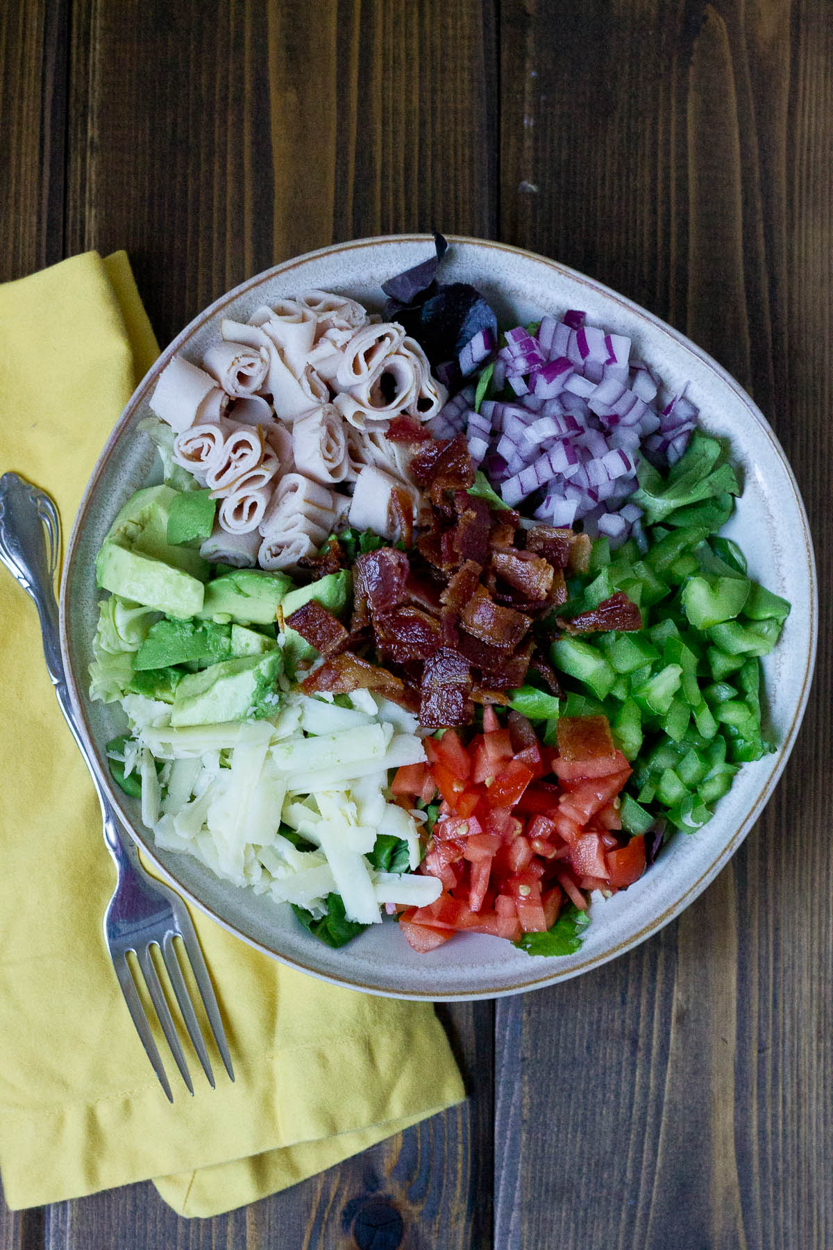 Healthy Meal Ideas from Love and Zest Cobb Salad with zesty yogurt dressing