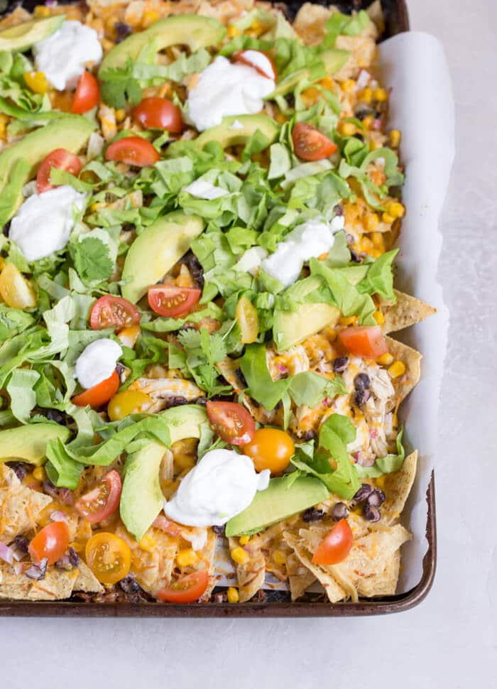 Healthy Meal Ideas from Love and Zest Sheet Pan Chicken Nachos