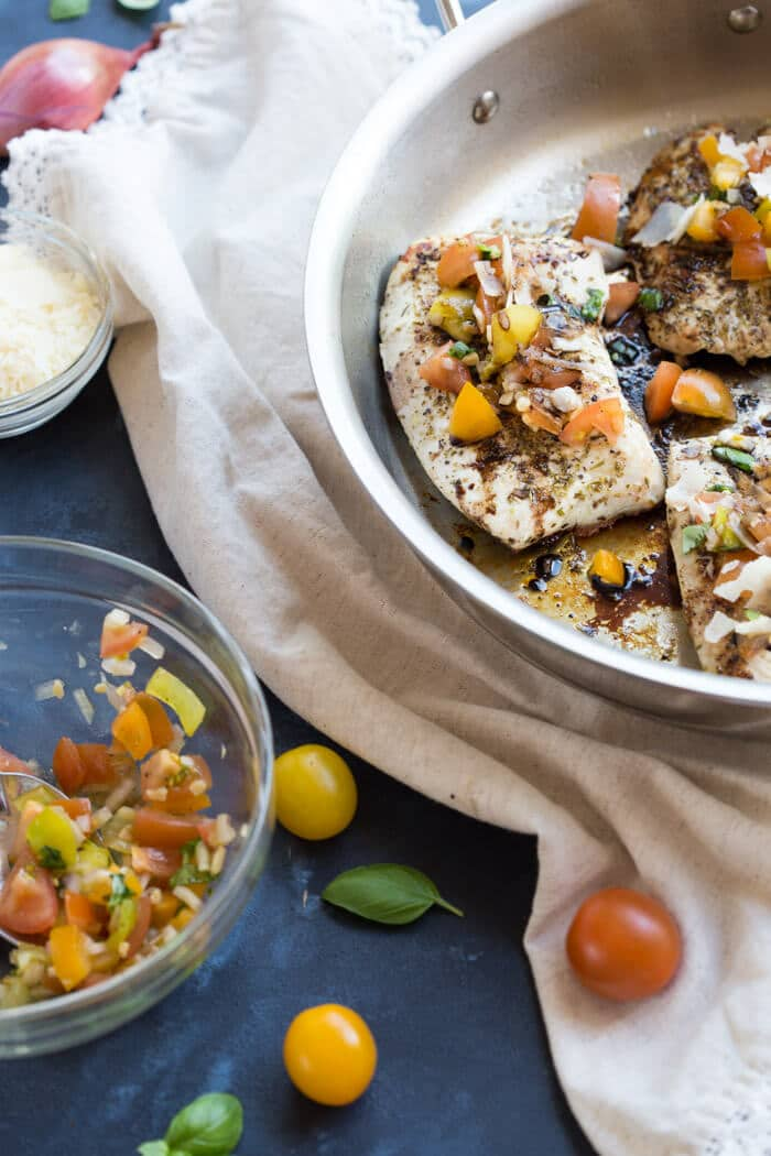 Healthy Meal Ideas from Love and Zest Skillet Italian Bruschetta Chicken