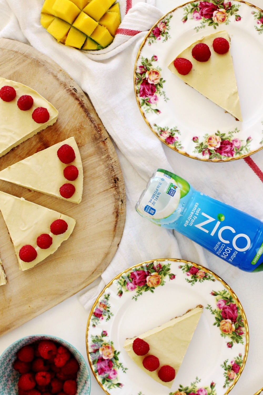 You are going to love this no-bake raw vegan mango raspberry cheesecake recipe that was created in collaboration with @ZICOcoconut. #InsideIsEverything and the ingredients in this cheesecake will leave you guiltless: fresh fruit, nuts, coconut oil, ZICO Natural and dates #madewithZICO #ad