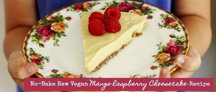 No-Bake Raw Vegan Mango Raspberry Cheesecake Recipe