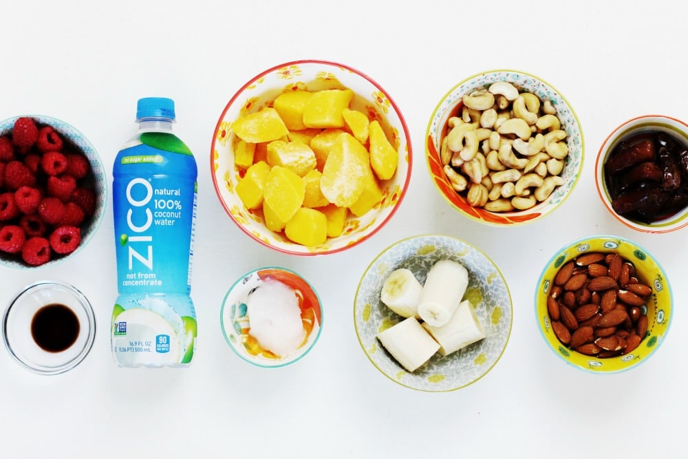 All of these ingredients combine to make an amazing no-bake raw vegan mango raspberry cheesecake recipe created in collaboration with @ZICOcoconut. #InsideIsEverything and the ingredients in this cheesecake are foods that are full of nutrients yet combine to make a rich and delicious dessert: fresh fruit, nuts, coconut oil, @ZICOcoconut water and dates. #ad