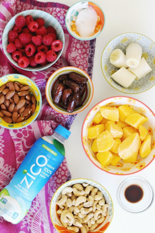 No-Bake Raw Vegan Mango Raspberry Cheesecake Recipe ingredients