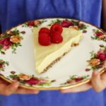 No Bake Raw Vegan Mango Raspberry Cheesecake Recipe on flower plate