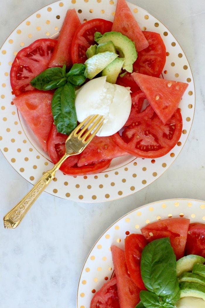 Rainbow Delicious Watermelon Avocado Burrata Caprese Salad Recipe