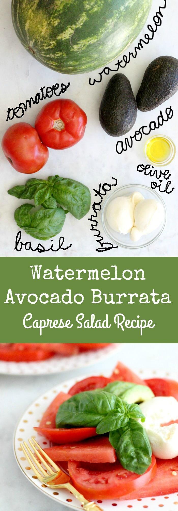 Simple Watermelon Avocado Burrata Caprese Salad Recipe