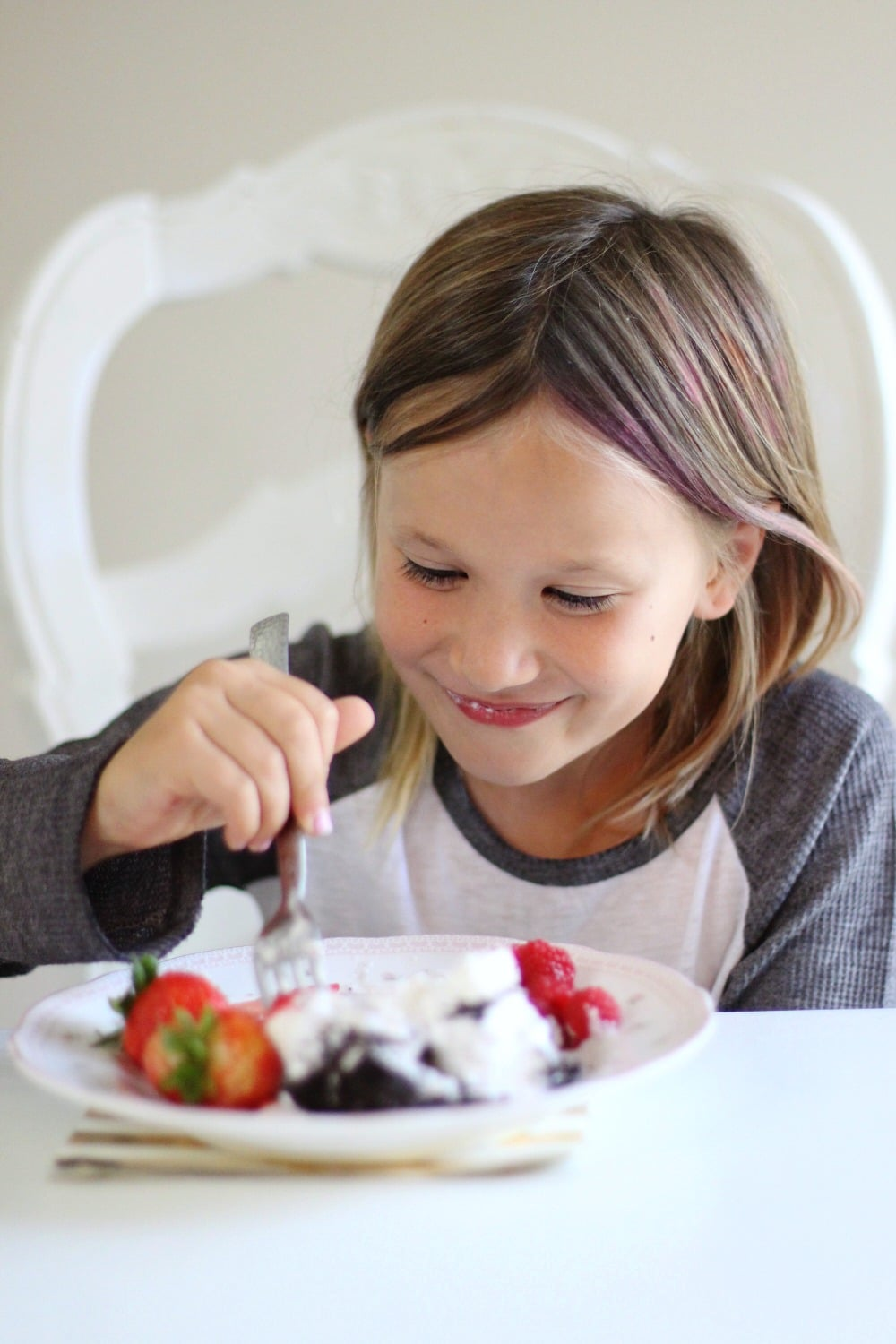 Berry OREO® Ice Cream Cake Recipe Enjoying the cake!
