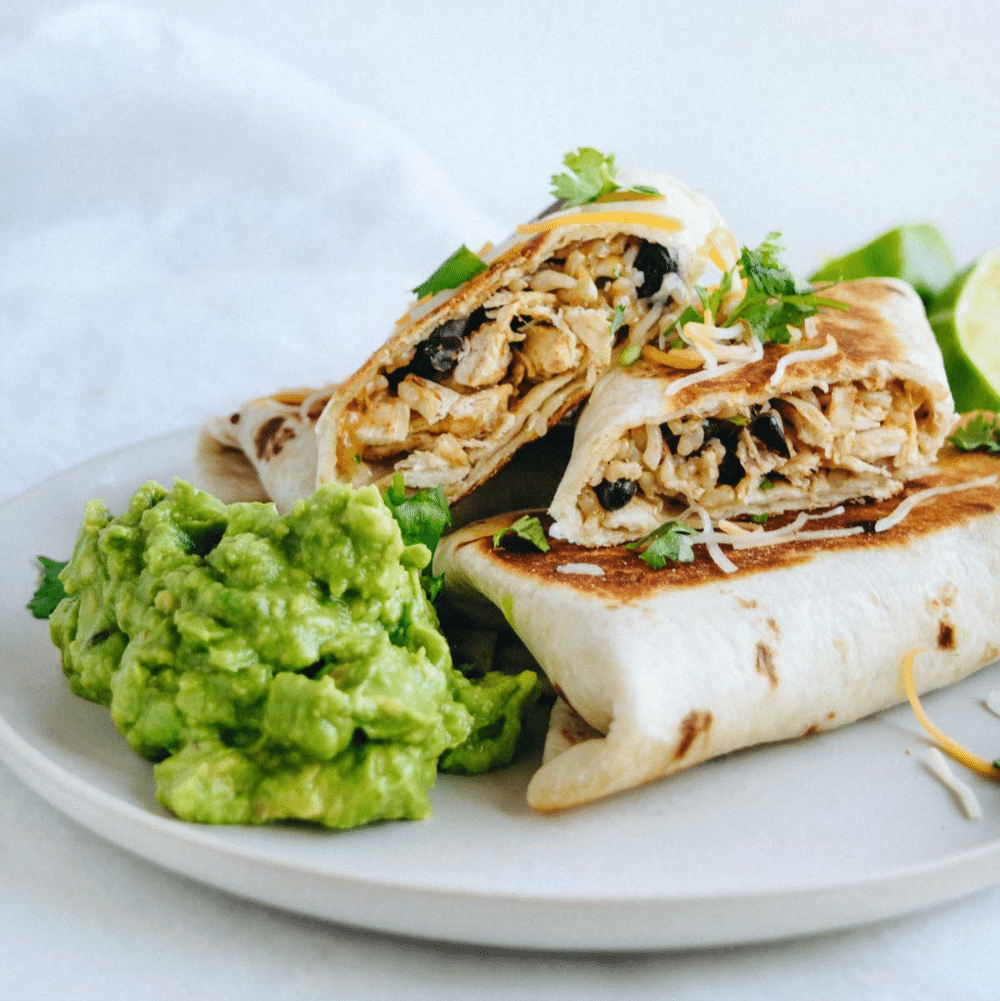 Eating Healthy Meal Plan Get Healthy U Chicken Rice Bean Burrito with Avocado Recipe