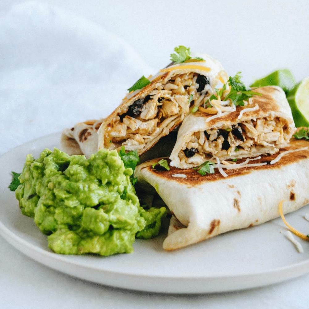 Eating Healthy Meal Plan Get Healthy U Chicken Rice Bean Burrito with Avocado Recipe