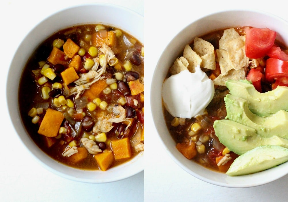 Chicken Sweet Potato Slow Cooker Tortilla Soup Recipe in bowls with and without toppings