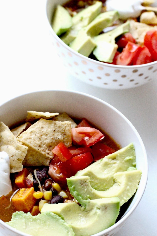 Chicken Sweet Potato Slow Cooker Tortilla Soup Recipe in bowls