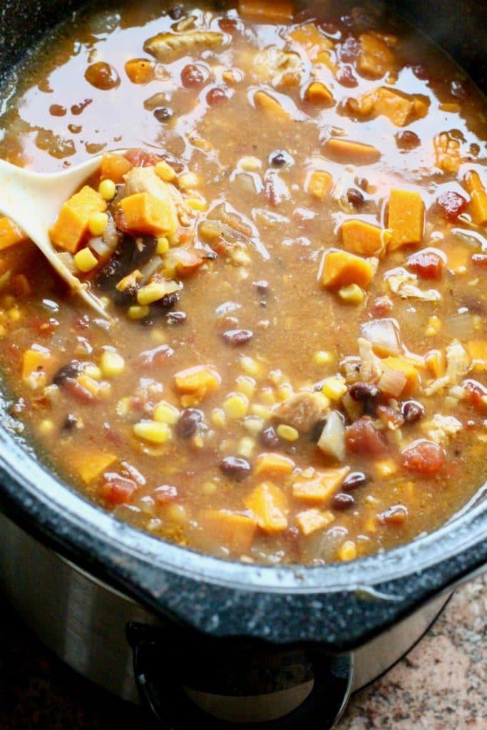 Chicken Sweet Potato Slow Cooker Tortilla Soup Recipe in crockpot