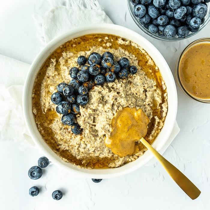 Peanut Butter Blueberry Steel Cut Oats - Unique Oatmeal Recipes