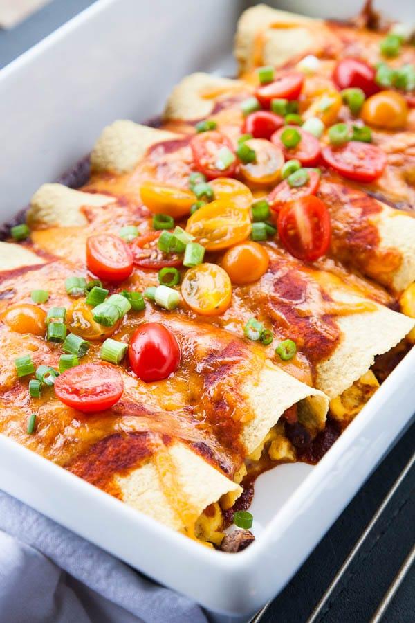 Weeknight Breakfast for Dinner Ideas: Black Bean Breakfast Enchiladas