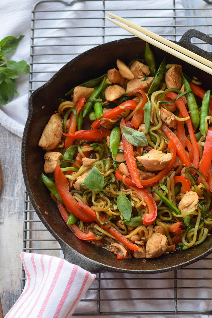 Whole Food Meal Plan from Seasonal Cravings Chicke Thai Basil with Zucchini Noodles