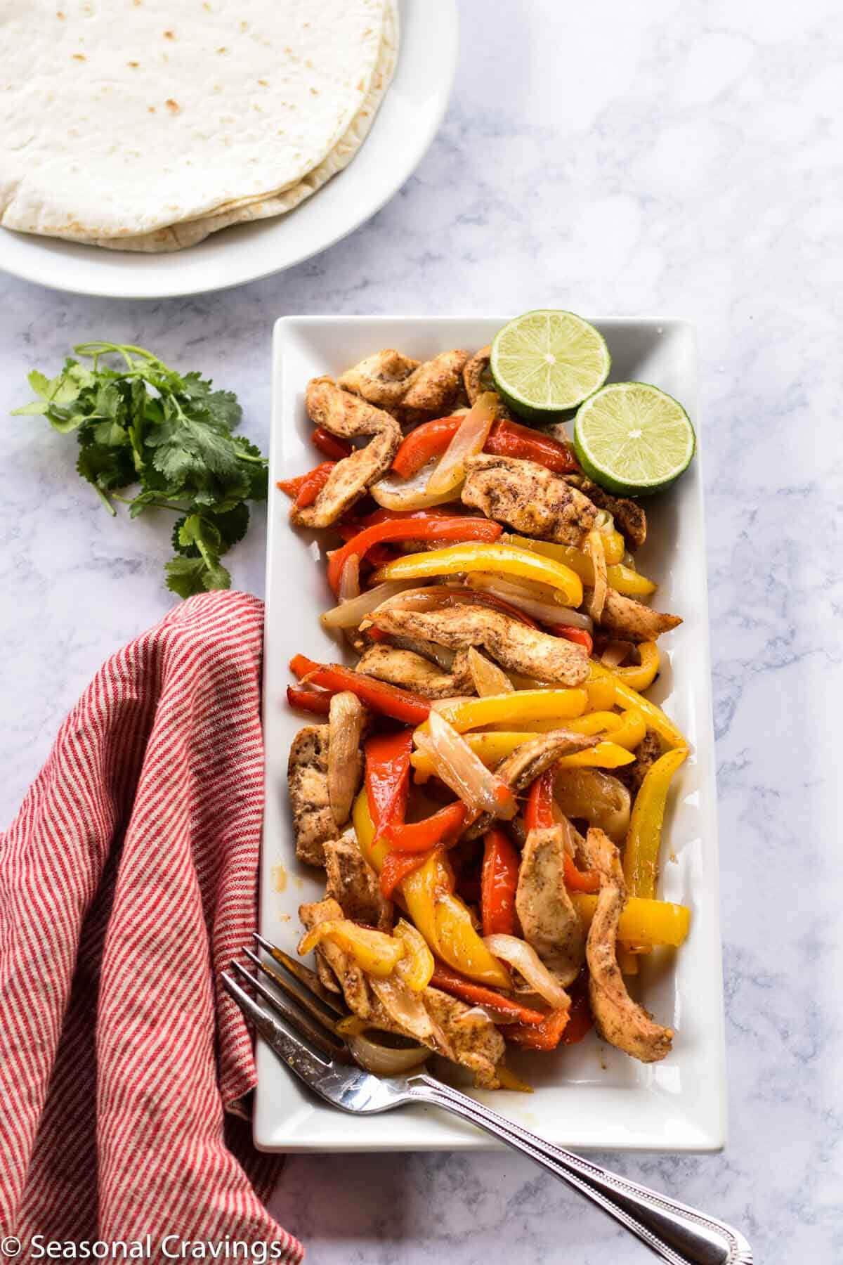Whole Food Meal Plan from Seasonal Cravings Sheet Pan Chicken Fajitas