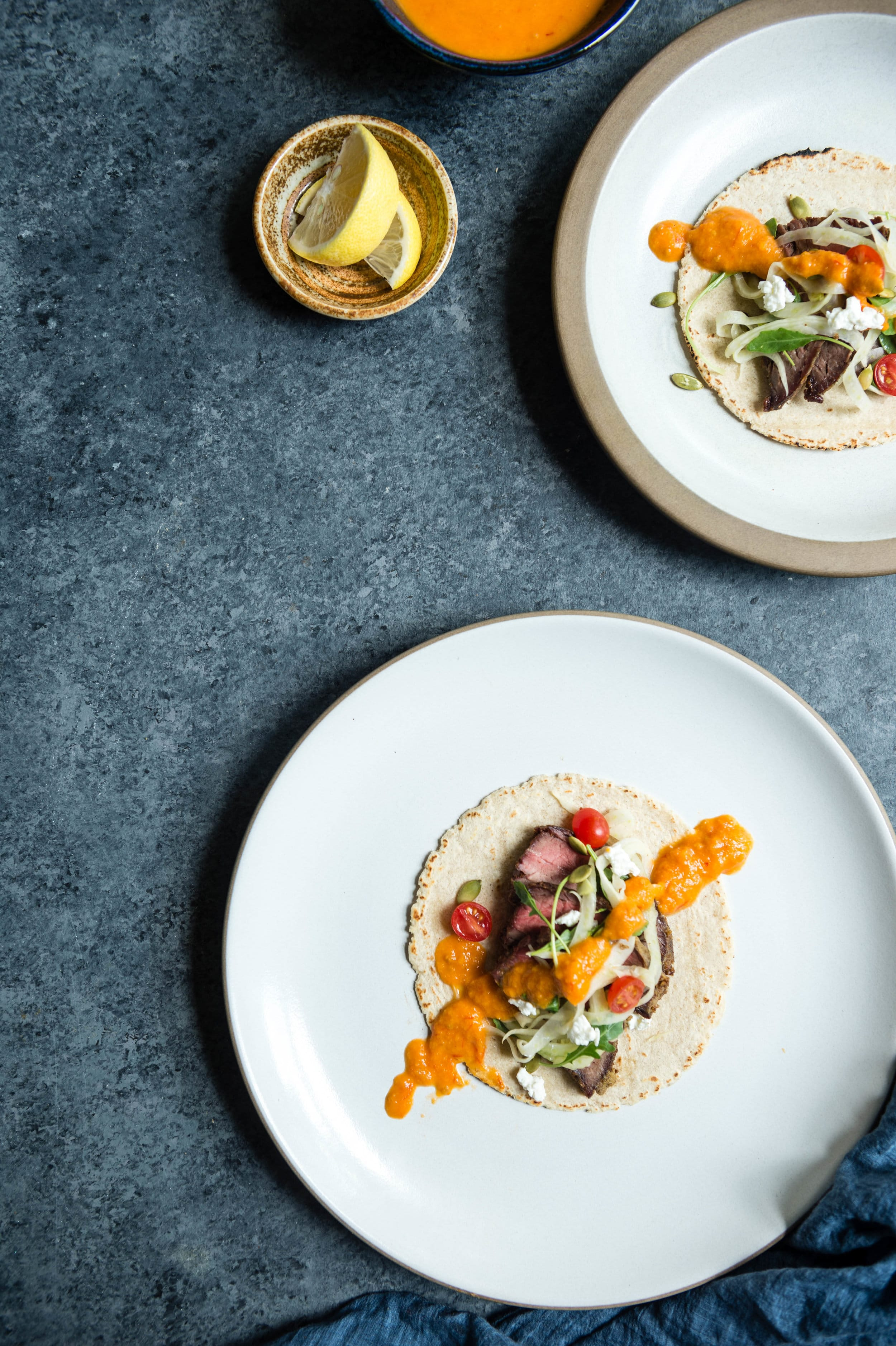 Real Food Recipes with Laurel Street Kitchen: Sous Vide Flank Steak Tacos with Fennel Slaw and Roasted Red Pepper Salsa